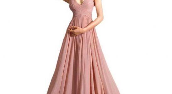robe longue rose pas cher