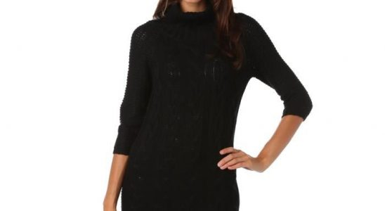 robe pull noire col roulé