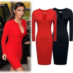 robe rouge moulante manche longue